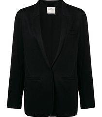 forte forte deep v-neck blazer jacket - black