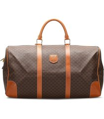 céline pre-owned macadam logo patch travel bag - brown