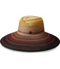 maison michel virginie wide-brim straw hat - red