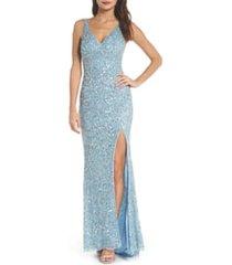 women's mac duggal v-neck sequin column gown