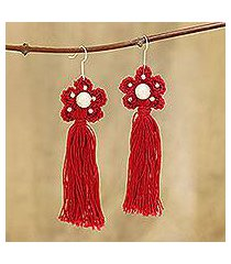crocheted cotton dangle earrings, 'red floral tassel' (india)