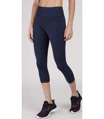 calça corsário feminina esportiva ace básica azul marinho