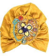 maryjane claverol canaria beaded turban hat - yellow