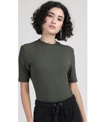 blusa feminina básica canelada manga curta gola alta verde militar