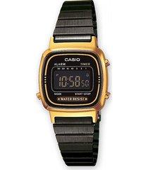 reloj casio la-670wegb-1b negro dorado