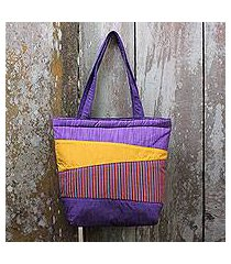 cotton shoulder bag, 'merapi purple' (indonesia)