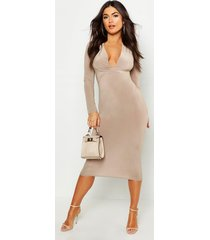 slinky plunge neck long sleeve midi dress, sand