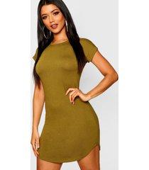 basic curved hem t-shirt dress, olive