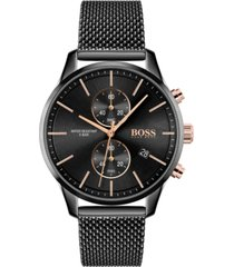 boss men's chronograph associate black stainless steel mesh bracelet watch 42mm