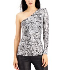 inc one-shoulder snake-embossed top, created for macy's