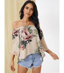 yoins abertura con hombros descubiertos y estampado floral al azar diseño blusa