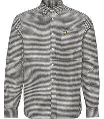 brushed cotton tweed check shirt skjorta casual grå lyle & scott