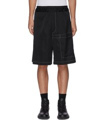 elastic waist contrast seam patch pocket shorts