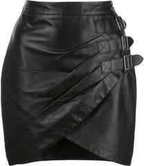 altuzarra nandi leather buckled skirt - black