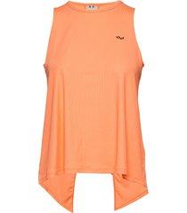 logo ribbed singlet t-shirts & tops sleeveless orange röhnisch