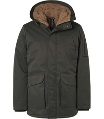 no excess jacket long fit hooded parka teddy dark green