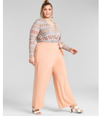 nina parker trendy plus size printed mesh bodysuit, created for macy's