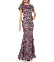 women's js collections embroidered overlay illusion lace gown, size 16 - pink