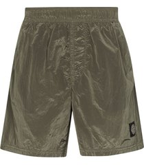 stone island logo patch swim shorts - green