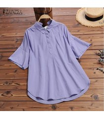 zanzea mujeres botones cuello camisa turn down cuello de solapa blusa suelta bowknot plus tops -púrpura
