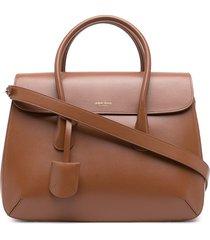 giorgio armani leather satchel bag - brown