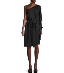 halston women's asymmetrical flowy dress - black - size s