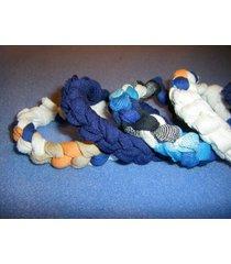 three recycled t-shirt stretch bracelets, blues, handmade upcycled tarn
