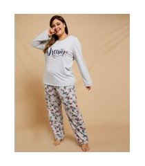 pijama plus size feminino estampa floral manga longa marisa
