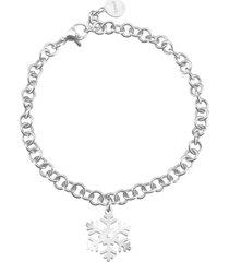 bracciale fiocco di neve in acciaio rodiato e cristalli per donna