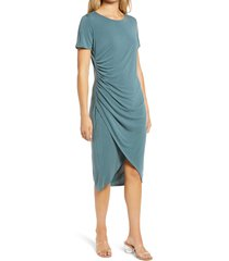 women's chelsea28 side ruched jersey dress, size medium - blue