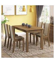 conjunto sala de jantar madesa bea mesa tampo de madeira com 4 cadeiras rustic/crema/bege marrom