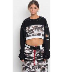 bluza camo mesh crop sweatshirt