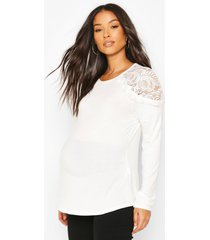 maternity lace shoulder detail top, white