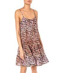 juliet dunn leopard print strappy dress red