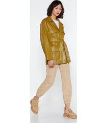 womens faux leather longline relaxed belted jacket - lime