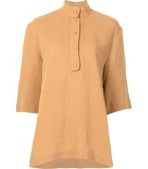0711 patterned-effect polo top - orange