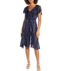 women's elizabeth crosby tonal stripe ruffle cocktail dress