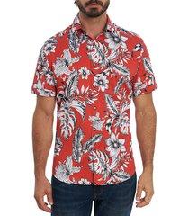 robert graham men's jukebox tunes classic-fit short-sleeve shirt - red - size xl