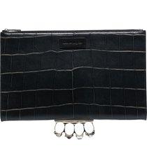 alexander mcqueen four ring crocodile-embossed clutch bag - black
