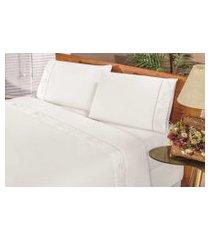 jogo de cama bia enxovais lençol solteiro imperial 03 peças  branco