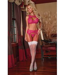 forget me not bra garter & g string panty set magic silk l/xl
