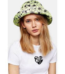 lime green hibiscus floral bucket hat - lime