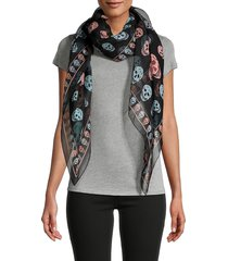 alexander mcqueen women's box skull scarf - black multi