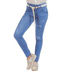 jean adrissa skinny pretina ancha con cinturon tejido azul indigo
