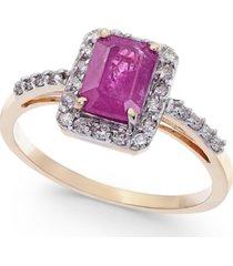 certified ruby (1-1/3 ct. t.w.) & diamond (1/4 ct. t.w.) ring in 14k gold