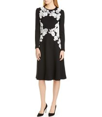women's lela rose lace detail long sleeve midi dress