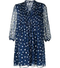dvf diane von furstenberg all-over dot print dress - blue