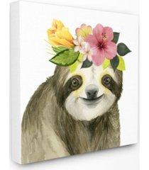 "stupell industries coachella ready sloth in flower crown canvas wall art 24"" l x 1.5"" w x 24"" h"