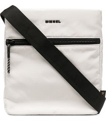 diesel f-urbhanity cross logo-print messenger bag - white