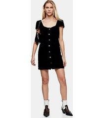 black corduroy cap sleeve bodycon dress - black